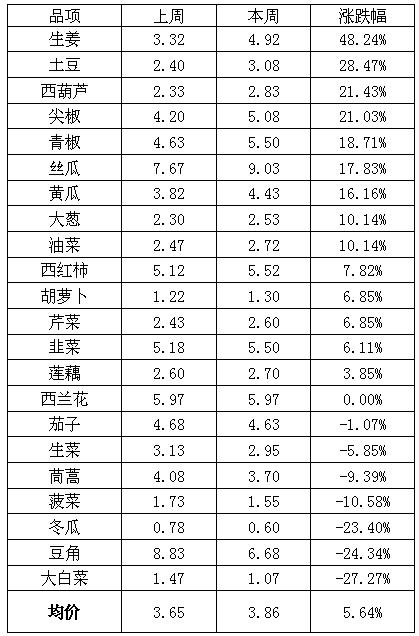 山东金乡凯盛市场:上周蔬菜价格普遍上涨 黄瓜价格持续上涨