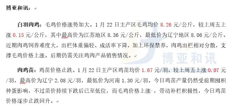 鸡价上涨带动苗价―肉鸡主产区评述【1.22】