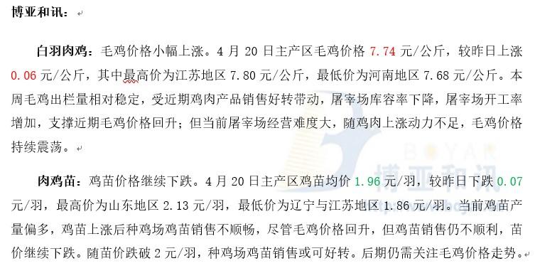 鸡苗产量偏多苗价下跌―肉鸡主产区评述【4.20】