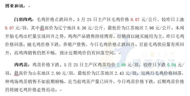 供需博弈毛鸡价格震荡运行―肉鸡主产区评述【5.25】