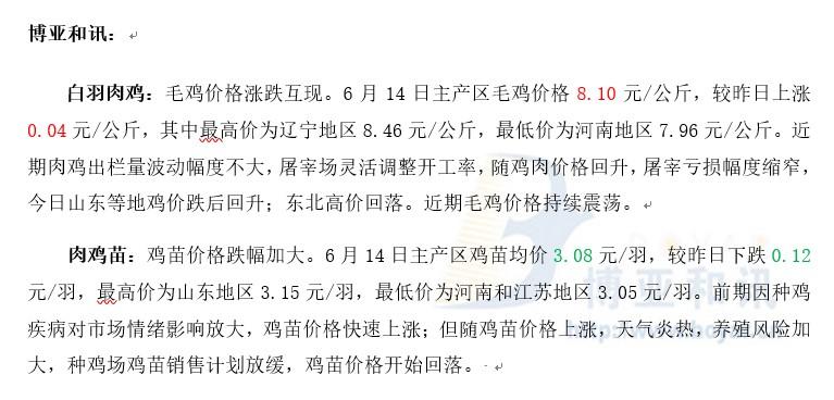 鸡价震荡苗价下跌―肉鸡主产区评述【6.14】