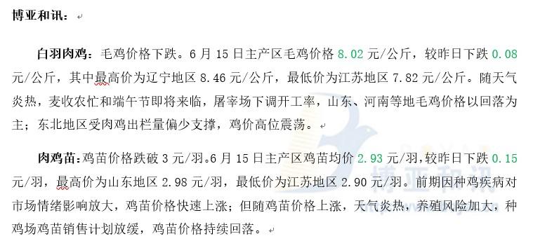 鸡苗安排放缓苗价下跌―肉鸡主产区评述【6.15】