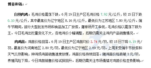 鸡价下跌,苗价止跌回升―肉鸡主产区评述【6.19】