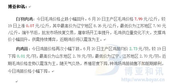 屠宰开工率提升,毛鸡小幅上涨―肉鸡主产区评述【6.20】