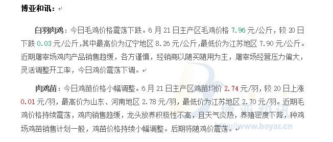 鸡价震荡鸡苗持续调整―肉鸡主产区评述【6.21】