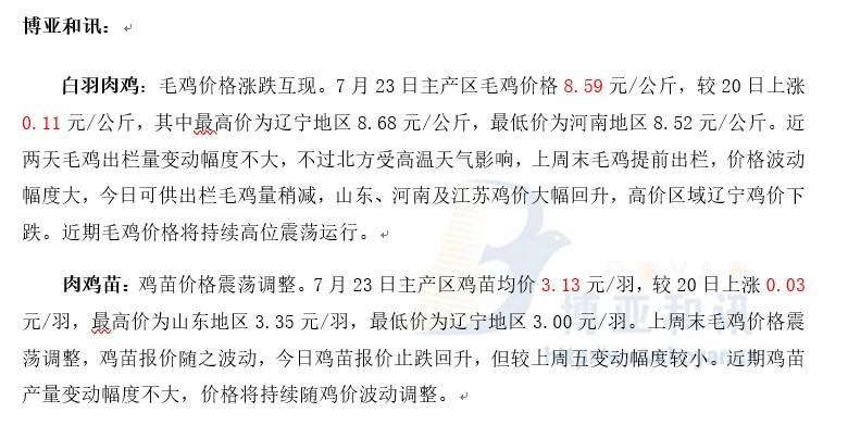 毛鸡价格持续高位震荡―肉鸡主产区评述【7.23】