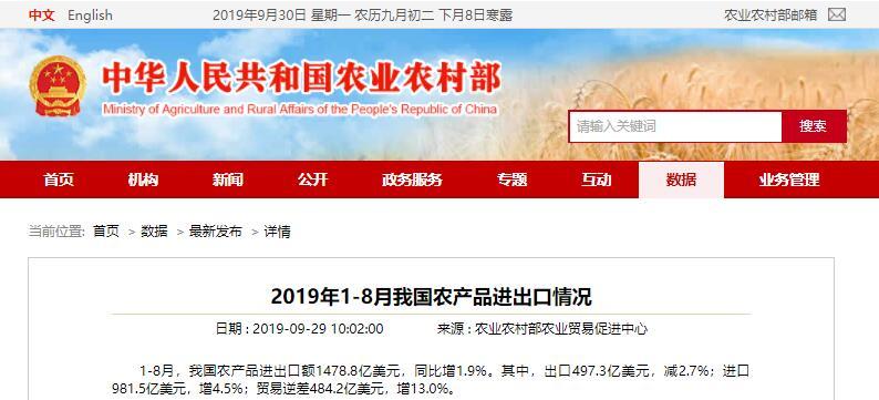 农业农村部发布2019年1-8月我国农产品进出口情况:猪肉进口增40%